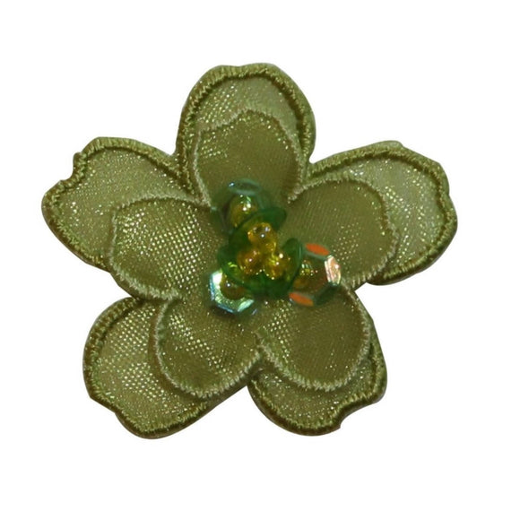 ID 6656 Green Sequin Layered Flower Patch Blossom Embroidered Iron On Applique