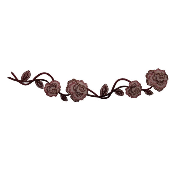 ID 6672 Rose Vine Flowers Patch Garden Craft Plant Embroidered Iron On Applique