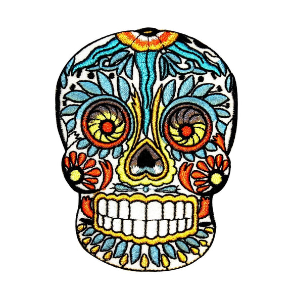 Feathered Sugar Skull Patch Mexican Candy Head Face Embroidered Iron On Applique