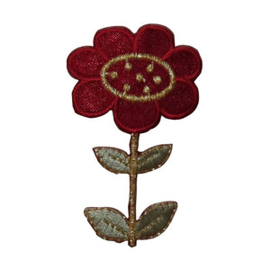 ID 6691 Red Flower Blossom Patch Garden Grow Plant Embroidered Iron On Applique