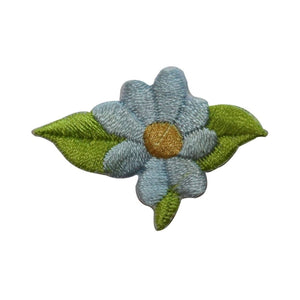 ID 6556 Blue Daisy Flower With Leaves Patch Garden Embroidered Iron On Applique