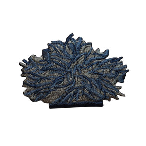 ID 6600 Blue Flower Bush Patch Garden Hedge Plant Embroidered Iron On Applique