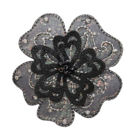 ID 6809 Beaded 3D Flower Patch Layered Petal Symbol Embroidered Iron On Applique
