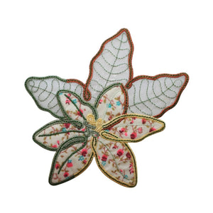 ID 6957 Quilt Print Leaves Patch Nature Symbol Leaf Embroidered Iron On Applique