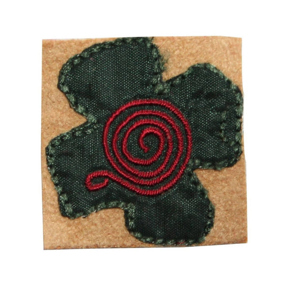ID 6961 Green Flower Badge Patch Spiral Sign Garden Embroidered Iron On Applique