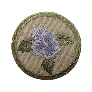ID 6986 Blue Flower Badge Patch Garden Sign Bloom Embroidered Iron On Applique