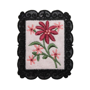 ID 6988 Pink Flowers Picture Patch Frame Garden Embroidered Iron On Applique