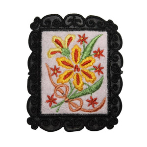 ID 6989 Yellow Flowers Picture Patch Frame Garden Embroidered Iron On Applique