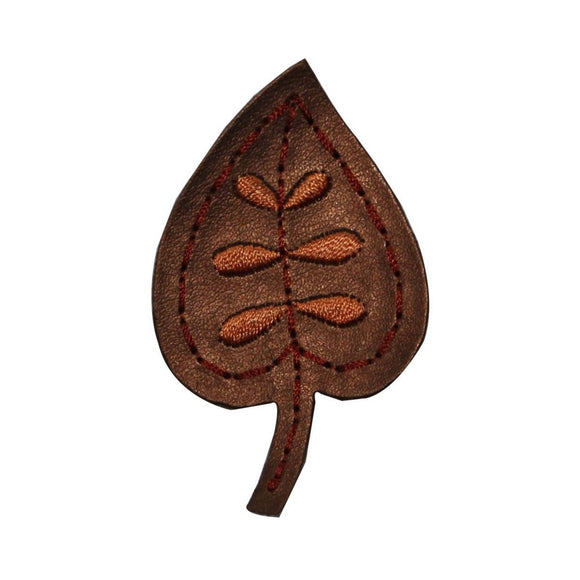 ID 7133 Pleather Birch Leaf Patch Fall Tree Symbol Embroidered Iron On Applique