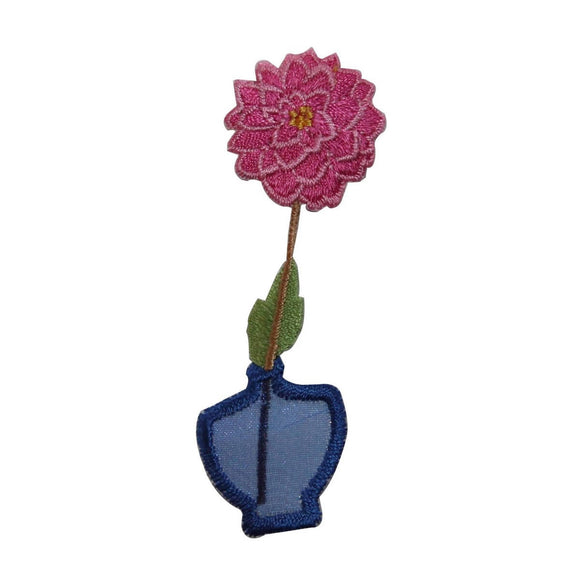 ID 7066 Pink Carnation In Vase Patch Garden Plant Embroidered Iron On Applique