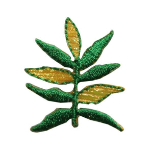ID 7204 Green Plant Leaves Patch Garden Branch Tree Embroidered Iron On Applique