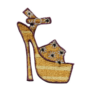 ID 7319 Yellow Floral High Heel Patch Fashion Shoe Embroidered Iron On Applique