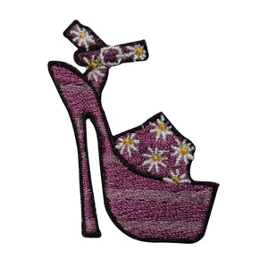 ID 7322 Purple Floral High Heel Patch Fashion Shoe Embroidered Iron On Applique