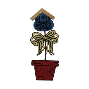 ID 7263 Potted Bird House Patch Plant Garden Craft Embroidered Iron On Applique