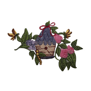 ID 7265 Bird House In Tree Patch Garden Vine Craft Embroidered Iron On Applique