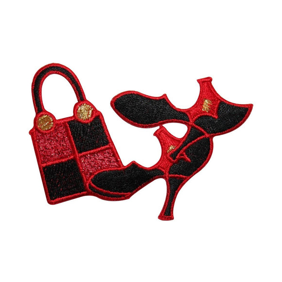 ID 7367 Red Matching Heels and Purse Patch Fashion Embroidered Iron On Applique