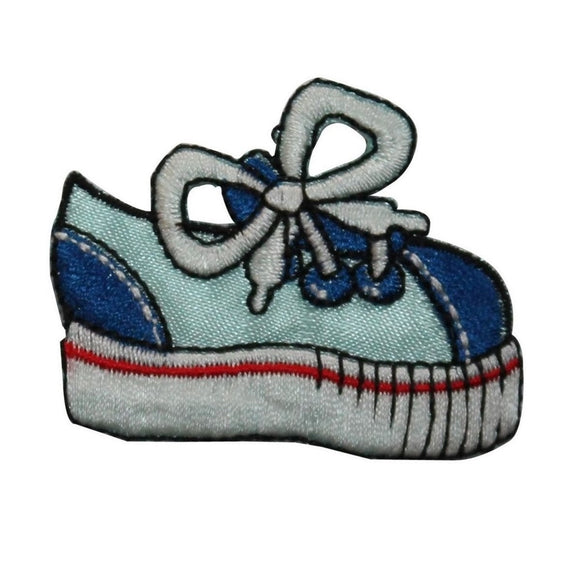 ID 7440 Blue Kids Sneaker Patch Fashion Tennis Shoe Embroidered Iron On Applique