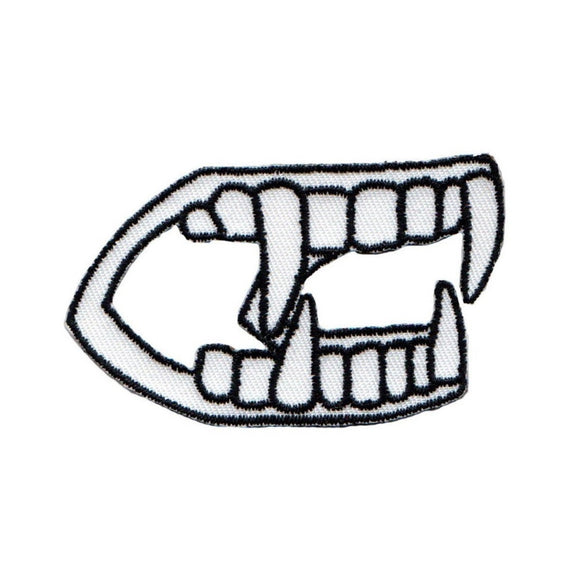 Vampire Teeth Patch Monster Halloween Horror Fan Embroidered Iron On Applique