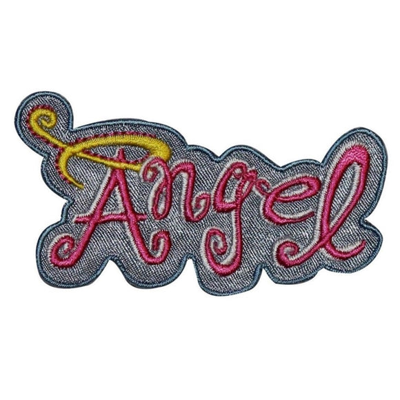 Angel Name Tag Halo Patch Girls Badge Saying Sign Embroidered Iron On Applique
