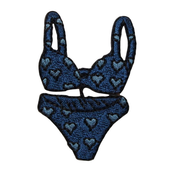 ID 7747 Blue Heart Bikini Patch Swim Suit Fashion Embroidered Iron On Applique