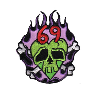 Kruse 69 Monster Skull Patch Crossbones Flames Ink Embroidered Iron On Applique