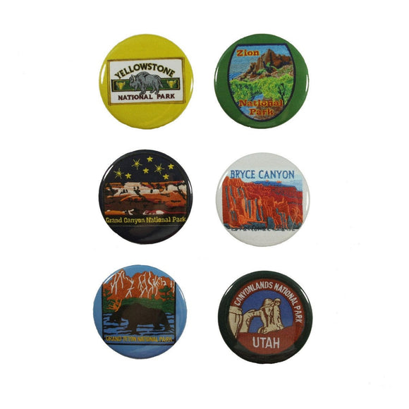 6 National Park Travel Pins Pack American Vacation Tour Assorted Pin Back Badge