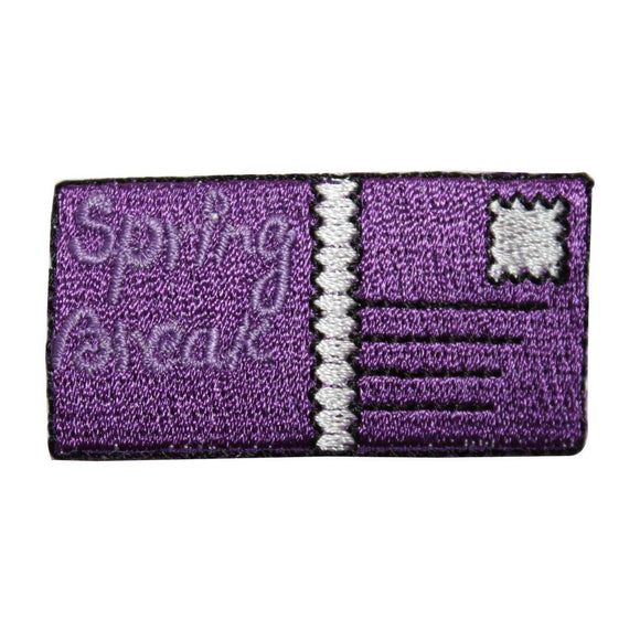 ID 7961 Spring Break Postcard Patch Mail Vacation Embroidered Iron On Applique