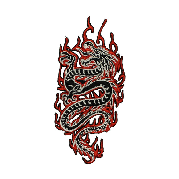 Chinese Dragon In Flames Patch Fantasy Fire Mythical Embroidered Iron On Applique