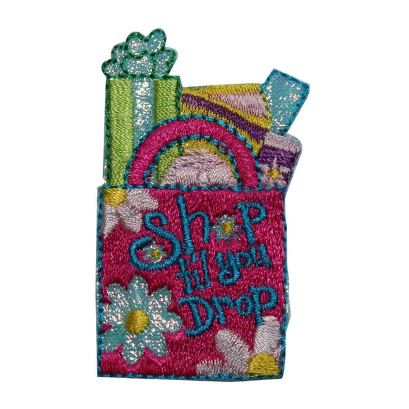 ID 8406 Shop Til You Drop Bag Patch Package Fashion Embroidered Iron On Applique