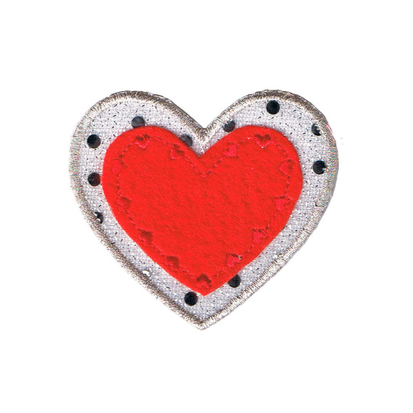 Red Heart With Sequins Patch Love Symbol Badge Embroidered Iron On Applique
