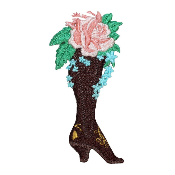 ID 8539 Thigh High Heel Boot Flower Patch Planter Embroidered Iron On Applique