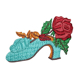 ID 8479 Ladies Floral Shoe Patch High Heel Flower Embroidered Iron On Applique