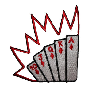 ID 8602 Royal Flush Poker Cards Patch Hand Gambling Embroidered Iron On Applique