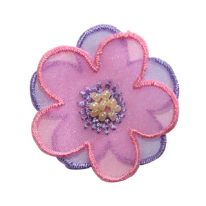 ID 8624 Layered Flower Blossom Patch Bead 3D Plant Embroidered Iron On Applique