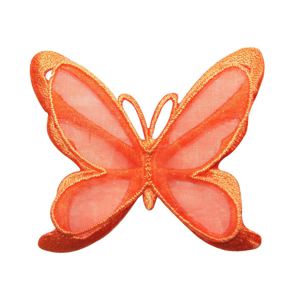ID 8674 Orange Butterfly 3D Wings Patch Garden Fairy Embroidered IronOn Applique