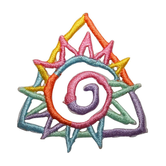 ID 8764 Rainbow Spiral Sun Patch Tribal Symbol Badge Embroidered IronOn Applique