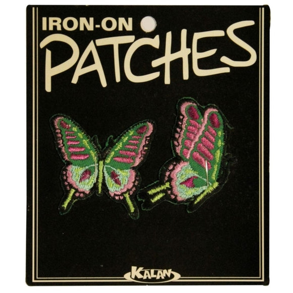 Set of 2 Purple Green Butterfly Patch Insect Bug Embroidered Iron On Applique