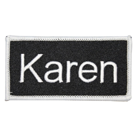 Karen Name Tag Patch Uniform ID Work Shirt Badge Embroidered Iron On Applique