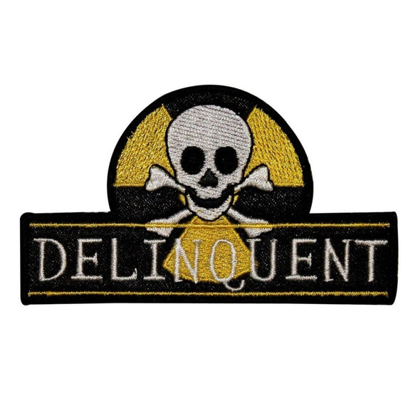 Delinquent Skull Crossbones Patch Biohazard Badge Embroidered Iron On Applique