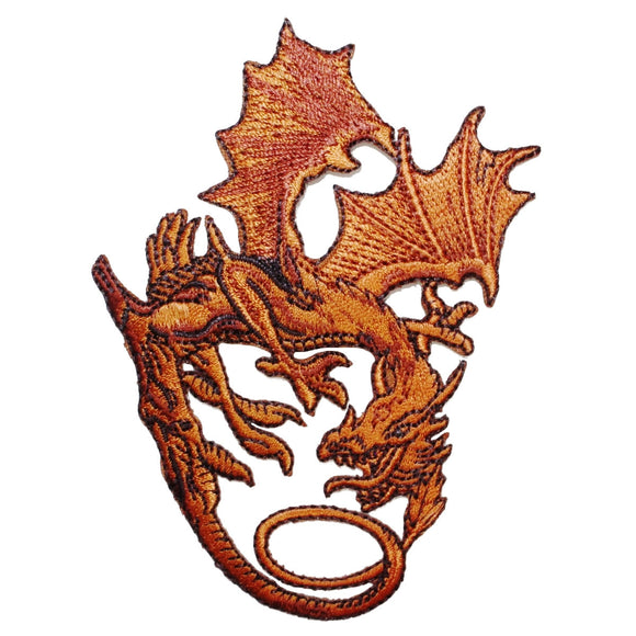 Bronze Metal Dragon Patch Golden Fantasy Mystical Embroidered Iron On Applique
