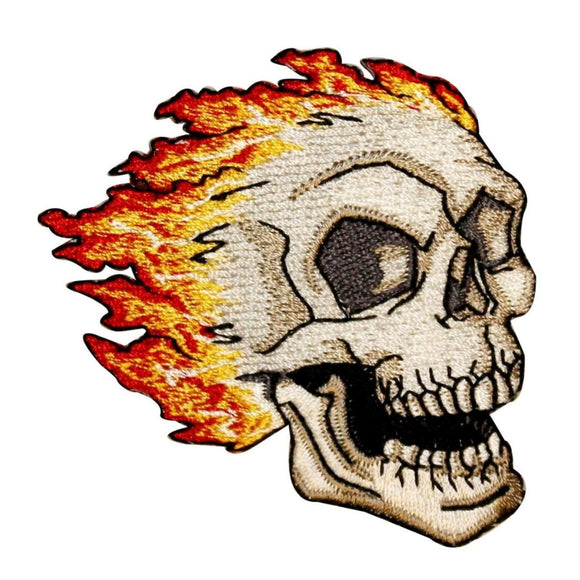 Flaming Skull Biker Patch Tattoo Death Face Fire Embroidered Iron On Applique