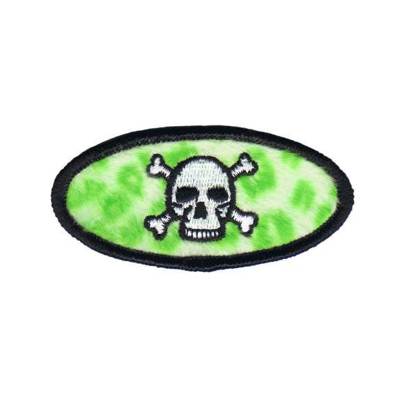 Green Skull Crossbones Badge Patch Name Tag Symbol Embroidered Iron On Applique