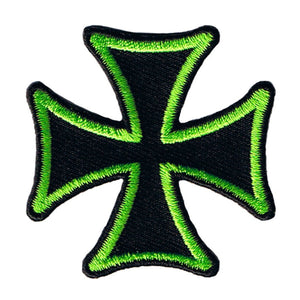 "Maltese Cross Biker Patch Green On Black 2"" Symbol Embroidered Iron On Applique"