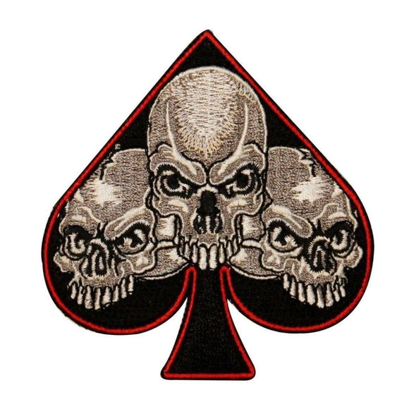 Three Skull Faces Spade Patch Biker Death Symbol Embroidered Iron On Applique