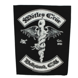 XLG Motley Crue Hollywood CA Back Patch Band Logo Metal Sew On Applique Patch