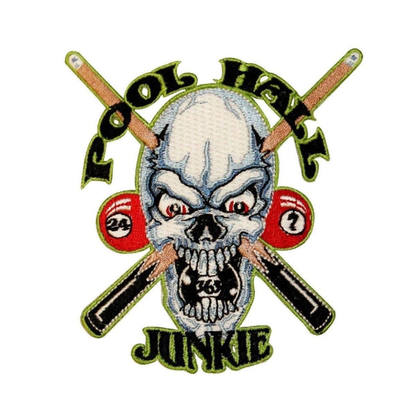 Pool Hall Junkie Skull Patch Billiards Sticks Face Embroidered Iron On Applique