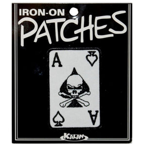 Ace of Spades Skull Card Patch Biker Crossbones Embroidered Iron On Applique