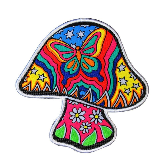 Dan Morris Butterfly Mushroom Patch Psychedelic Hippie Woven Iron On Applique