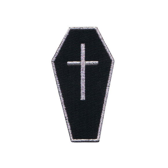 Black Coffin With Cross Patch Casket Bury Gothic Embroidered Iron On Applique