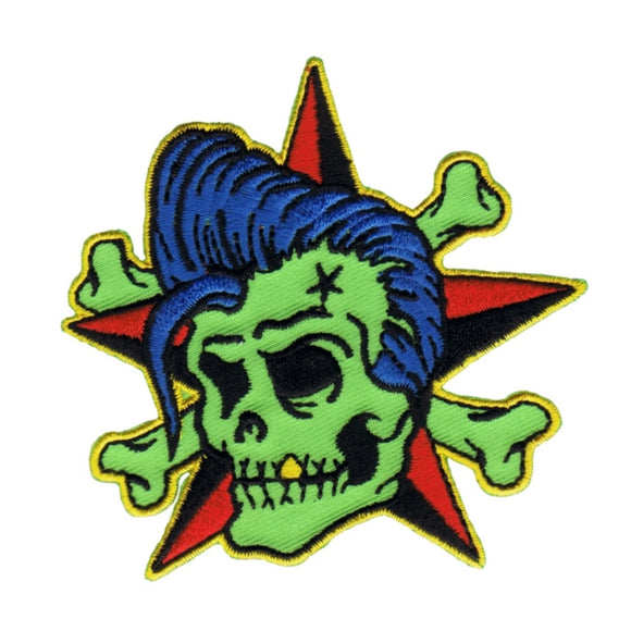 Reed Rockin Billy Patch Star Cross Bones Artist Embroidered Iron On Applique